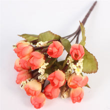 Autumn 15 heads/bouquet small bud roses bract simulation flowers silk rose decorative Flowers Home decorations for Wedding
