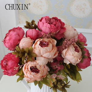HIGHT Quality silk flower European 1 Bouquet Artificial Flowers Fall Vivid Peony Fake Leaf Wedding Home Party Decoration