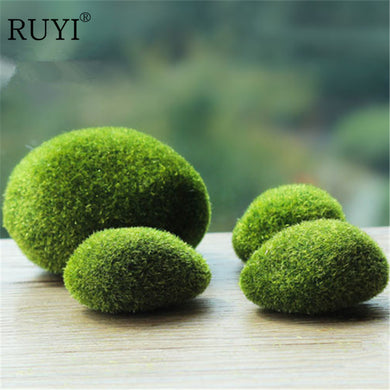 A Set Of Mini Artificial Moss Stones Grass Bryophytes Plant Pot Bonsai Home Garden Decoration DIY Potted