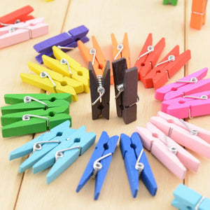 50pcs Mini Wooden Clothes Photo Peg Clothespin Craft Clips 35mm High Quality Home Decor 3JU15