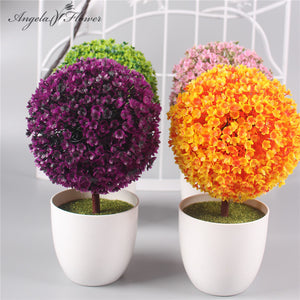 1 Set ball flower + vase artificial potted plants small bonsai
