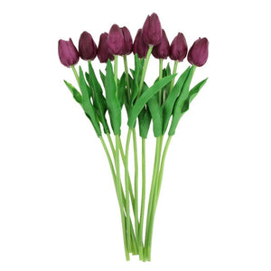 10pcs/lot PU Tulip Calla Artificial Flower Bouquet Real Touch