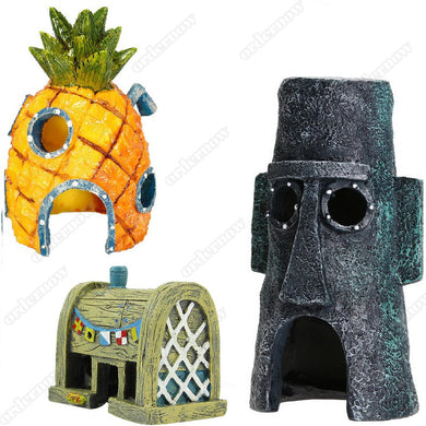 Mini Aquarium For SpongeBob & Squidward House Pineapple Cartoon House Home Fish Tank Aquarium Decor