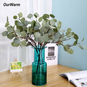 OurWarm Artificial Eucalyptus Branches Greenery Wedding Decoration Artificial Plants DIY Bridal Bouquet Wreaths Home Decoration