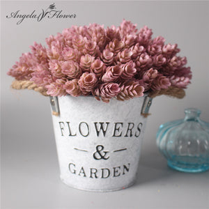 1 Set flower + vase artificial plant with iron bucket farmhouse style