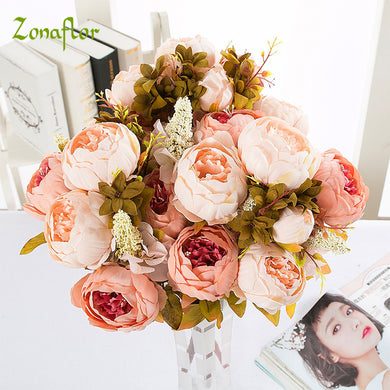 Zonaflor Silk Peony Flower Artificial Flowers 13 Heads European Peony Fake Wedding Bride Bouquet indoor Home Party Decoration