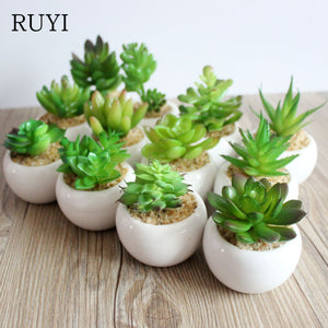 A Set Artificial Green Plant Artificial Miniascape/Bonsai/Potted Home Balcony Decoration Decorative Flower Succulent Plants