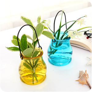 Thick Colorful Glass Vase Office Decor Creative Hydroponic Bottle Household Decoration Transparent Micro-landscape Vase