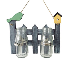 Household Wall Desktop Glass Vases ZAKKA Style Micro-landscape Hydroponic Bottle Office Wall Decoration Hook Glass Vase