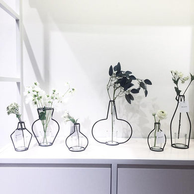 Drie Iron Shelving Flower Vase Garden Modern Brief Creative Decor Artificial Flowers Vase Home Decorations Drop shipping