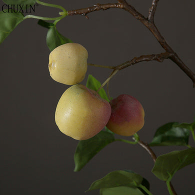 New 1PCS Artificial apple with leaf simulation fruit High end modern style wedding decoration for home party office decor fake fruit