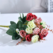 New 21 Heads/Bouquet Silk Rose European Style Artificial Flower High Quality Bouquet Fake Flowers Wedding Home Party Decoration