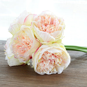 4 Colours 1Bunch European Artificial Flower Fake Peony Bridal Bouquet Christmas Wedding Party Home Decorative
