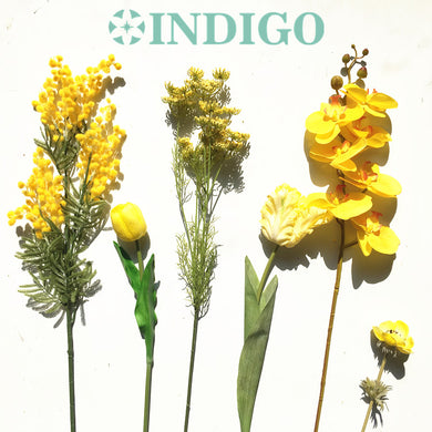 INDIGO-DIY Yellow Single Flower Anemone Orchid Tulip Calla Mimosa Lace Flower Calla Arrangement Wedding Party Event