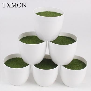 White Round Simple Modern Flowerpot With Foam Floral Arrangement Accessories