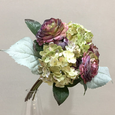 3pcs 29cm High Grade Artificial Flower Ranunculus Hydrangea Flower Bouquet