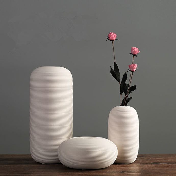 New Porcelain Creativity Simple-Modern Style White Vases Ceramic Tabletop Vases for Wedding Home Decoration Chinese Jingdezhen