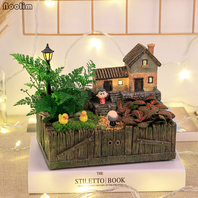 NOOLIM Resin Tuscany Hut Flower Bed Succulent Pot Planter Bonsai Box Plant Bed Home Office Tabletop Garden Decor Accessories