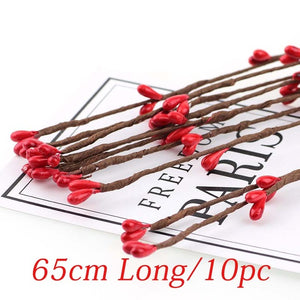 Cheap 10pcs 40cm DIY Scrapbooking Decorative Wreath Fake Bud Artificial Branches Flower Iron Wire For Wedding Decoration Flowers