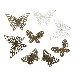 Iron Based Alloy Filigree Stamping Embellishments Scrapbooking Fixed Butterfly Mixed Hollow, 40 PCs
