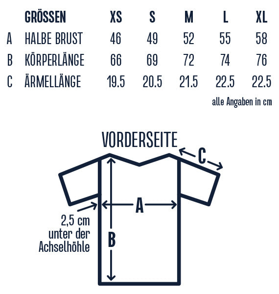 Incylence T-shirt size guide