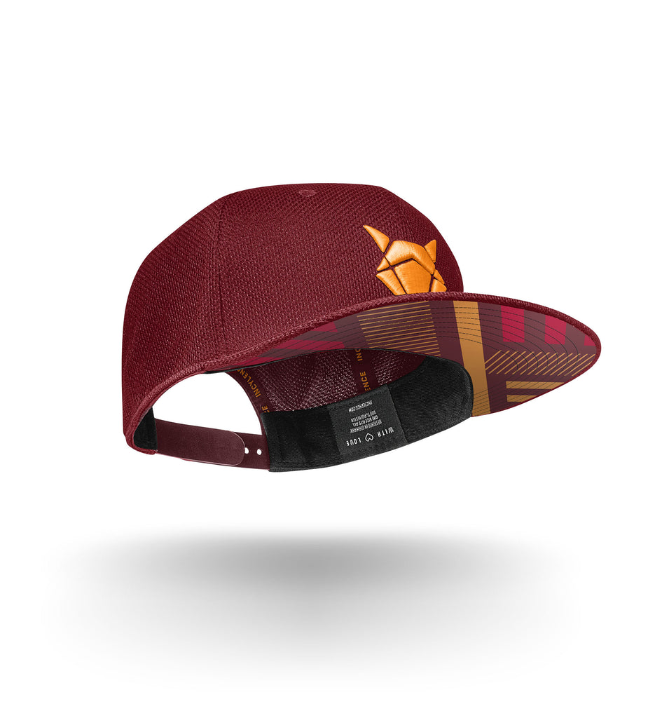 incylence snapback cap elements in weinrot und orange
