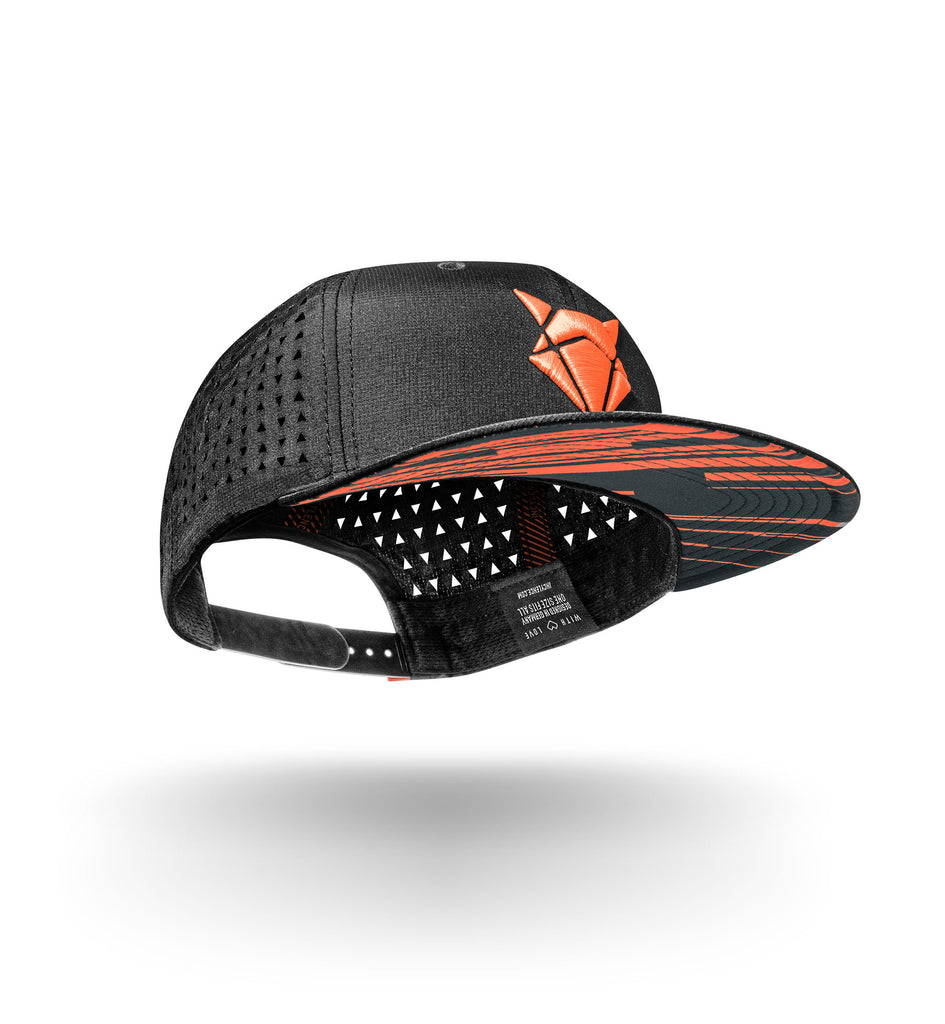 incylence performance cap vibrant in schwarz und neon-rot