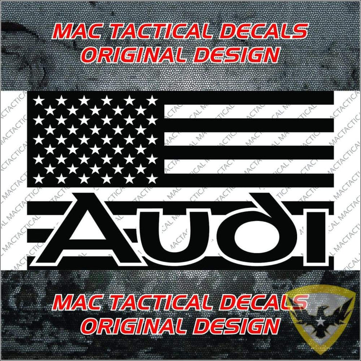 Audi (Style 1) American Flag Car Decal Mac Tactical Decals