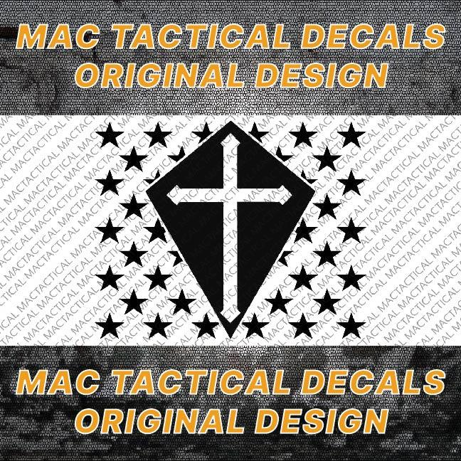 Crusader Christian Cross Stars Mac Tactical Decals