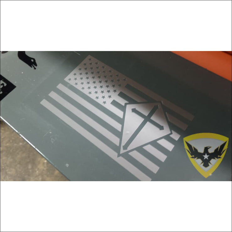 Crusader Cross American Flag Decal Mac Tactical Decals