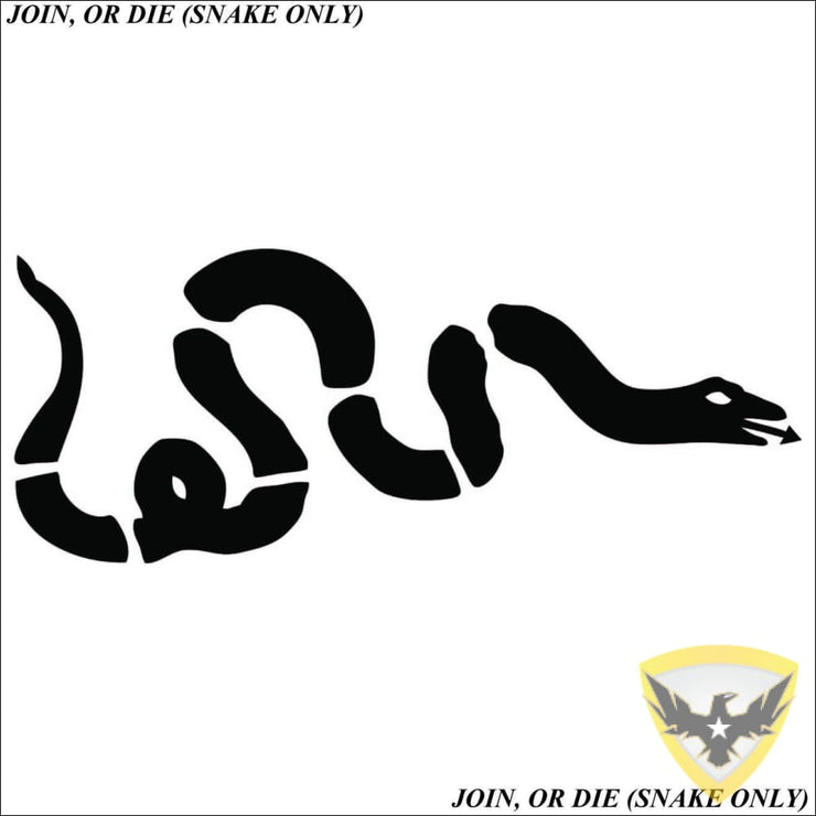 Join, or Die Cartoon Snake Only Decal Mac Tactical Decals