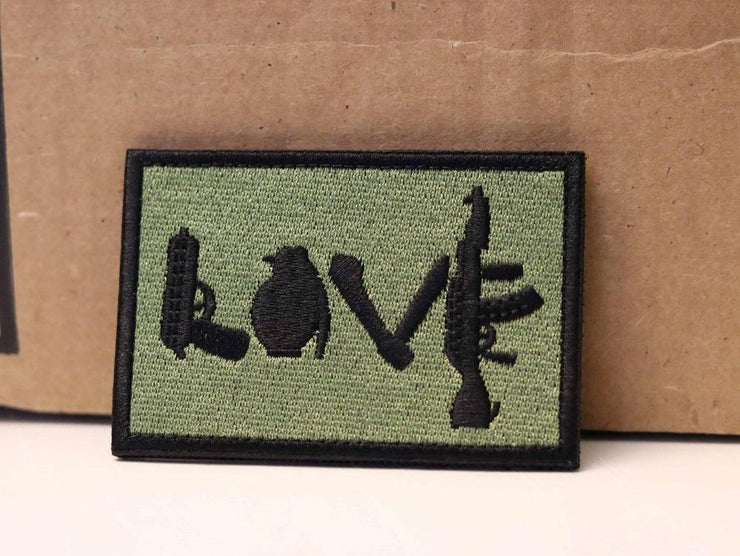 LOVE Gun Embroidered Hook and Loop Patch Mac Tactical Decals