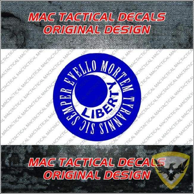 Sic Semper Evello Mortem Tyrannis Moultrie Sticker (4 - 12 Pack) Mac Tactical Decals