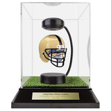 Army West Point Hover Helmet in Acrylic Case, on top of Hover Helmets TURF, on a base with plaque