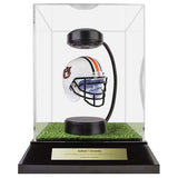 Auburn University Hover Helmet in Acrylic Case, on top of Hover Helmets TURF, on a base with plaque