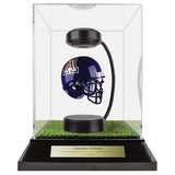 University of Arizona Hover Helmet in Acrylic Case, on top of Hover Helmets TURF, on a base with plaque