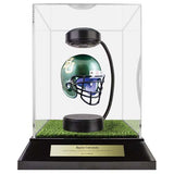 Baylor University Hover Helmet in Acrylic Case, on top of Hover Helmets TURF, on a base with plaque