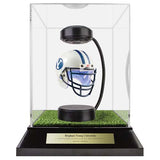 Brigham Young University Hover Helmet in Acrylic Case, on top of Hover Helmets TURF, on a base with plaque