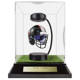 University of Cincinnati Hover Helmet in Acrylic Case, on top of Hover Helmets TURF, on a base with plaque