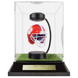 Clemson University Hover Helmet in Acrylic Case, on top of Hover Helmets TURF, on a base with plaque