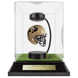 University of Colorado Hover Helmet in Acrylic Case, on top of Hover Helmets TURF, on a base with plaque