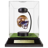 Florida State University Hover Helmet in Acrylic Case, on top of Hover Helmets TURF, on a base with plaque