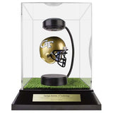 Georgia Tech Hover Helmet in Acrylic Case, on top of Hover Helmets TURF, on a base with plaque