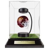 Iowa State University Hover Helmet in Acrylic Case, on top of Hover Helmets TURF, on a base with plaque