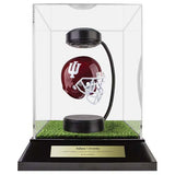 Indiana University Hover Helmet in Acrylic Case, on top of Hover Helmets TURF, on a base with plaque