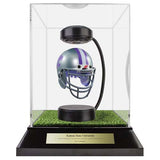 Kansas State University Hover Helmet in Acrylic Case, on top of Hover Helmets TURF, on a base with plaque