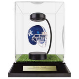 University of Kentucky Hover Helmet in Acrylic Case, on top of Hover Helmets TURF, on a base with plaque