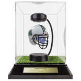 Marshall University Hover Helmet in Acrylic Case, on top of Hover Helmets TURF, on a base with plaque