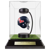 University of Mississippi Hover Helmet in Acrylic Case, on top of Hover Helmets TURF, on a base with plaque