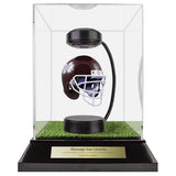 Mississippi State University Hover Helmet in Acrylic Case, on top of Hover Helmets TURF, on a base with plaque